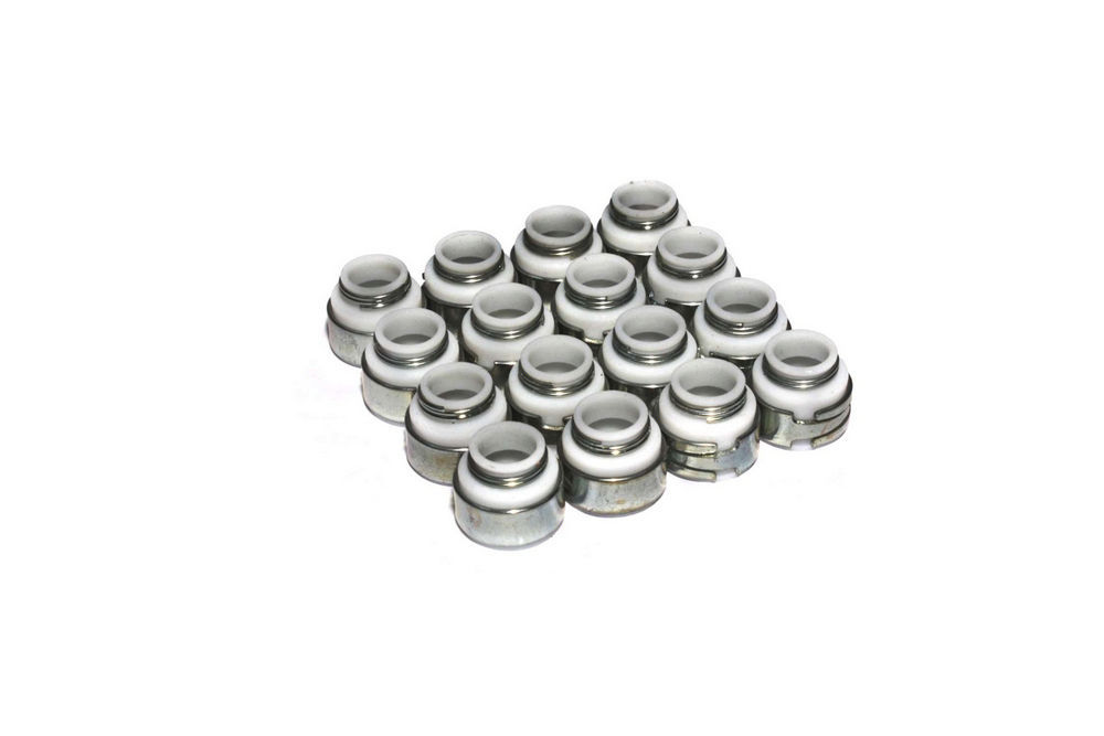 Comp Cams 513-16 Valve Stem Seal, Positive Stop, 5/16 in Valve Stem, 0.500 in Guide, PTFE, Set of 16