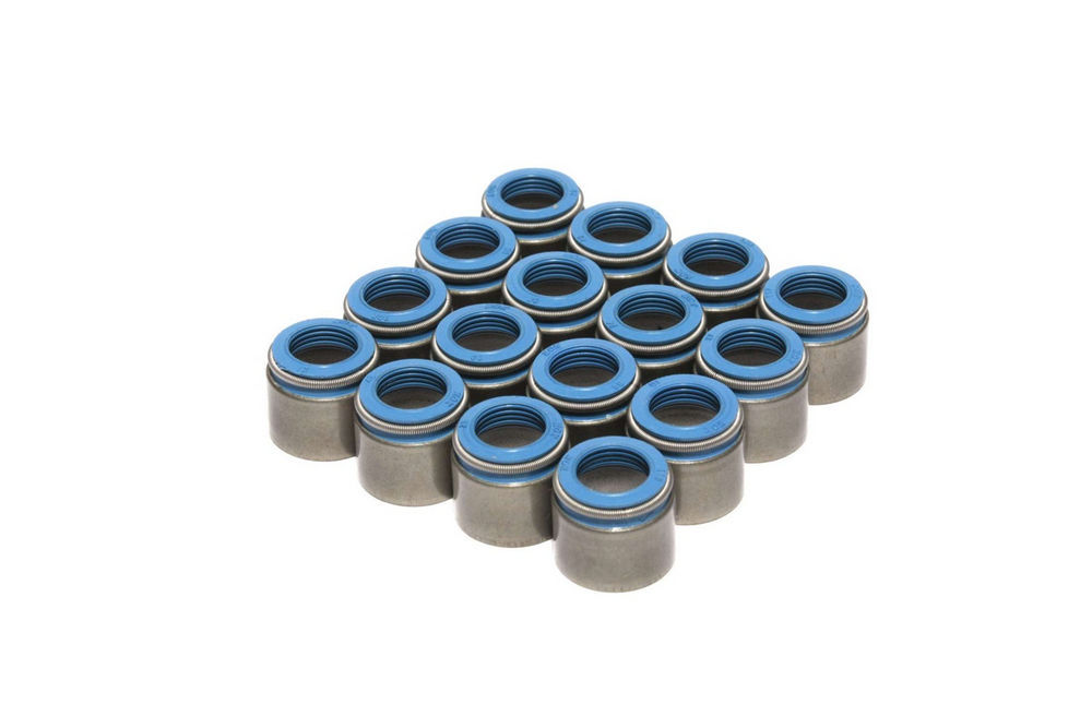 Comp Cams 522-16 Valve Stem Seal, Positive Stop, 3/8 in Valve Stem, 0.530 in Guide, Steel Body / Viton, Set of 16