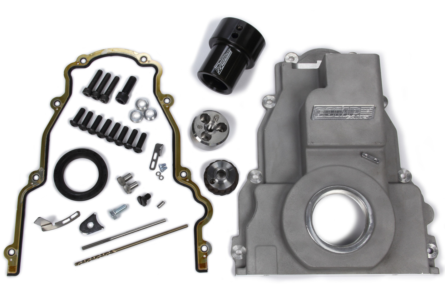 Comp Cams 5481 Timing Cover, Conversion, 1 Piece, Gaskets / Hardware / Seal Included, Aluminum, Natural, Small Block Ford Distributor, GM LS-Series, Kit