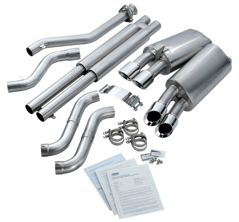 Corsa Performance 14118 Exhaust System, Sport, Cat-Back, 2-1/2 in Diameter, 3-1/2 in Tips, Stainless, Natural, 5.7 L, GM LS-Series, Chevy Corvette 1996, Kit