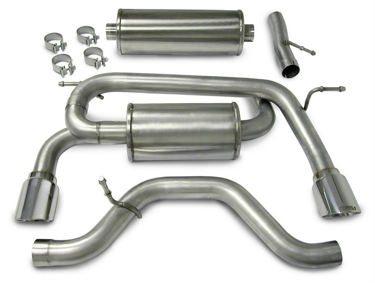 Corsa Performance 14212 Exhaust System, Sport, Cat-Back, 3.0 in Diameter, Dual Rear Exit, 4 in Polished Tips, Stainless, Natural, Hummer H3 2006-08, Kit