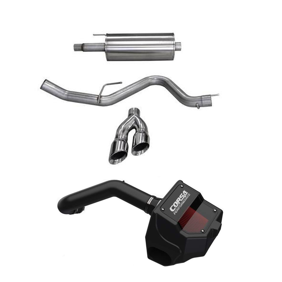 Corsa Performance 14837PB Performance Package, Power Bundle, Air Intake / Cat-Back Exhaust, Polished Tips, Ford Coyote, Ford Fullsize Truck 2015-19, Kit