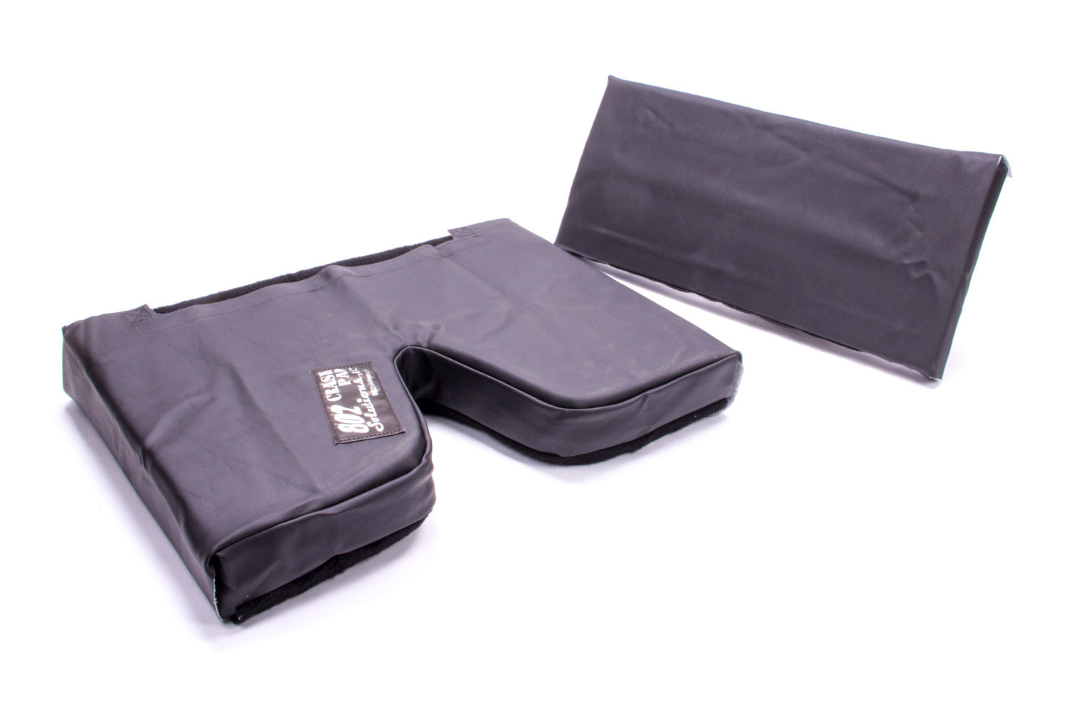 The Crash Pad CP02-08LM Seat Pad, Crash Pad, 2 in Thick Bottom, 8 in Tall Lumbar, Hook and Loop Attachment, Vinyl / Nylon, Black, 14-18 in Wide Seats, Each