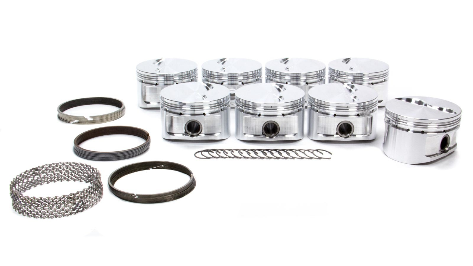 CP Pistons S2031-8 Piston, 305 Sprint Flat Top, Forged, 3.766 in Bore, 1.5 x 1.5 x 4.0 mm Ring Grooves, Minus 3.1 cc, Small Block Chevy, Set of 8