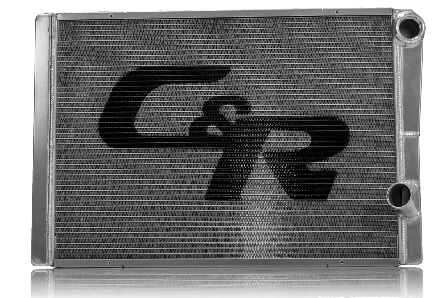 C & R Racing Radiators 926-15288 Radiator, Crossflow, 27-1/2 in W x 15 in H x 2.56 in D, Passenger Side Inlet, Passenger Side Outlet, Aluminum, Natural, Each