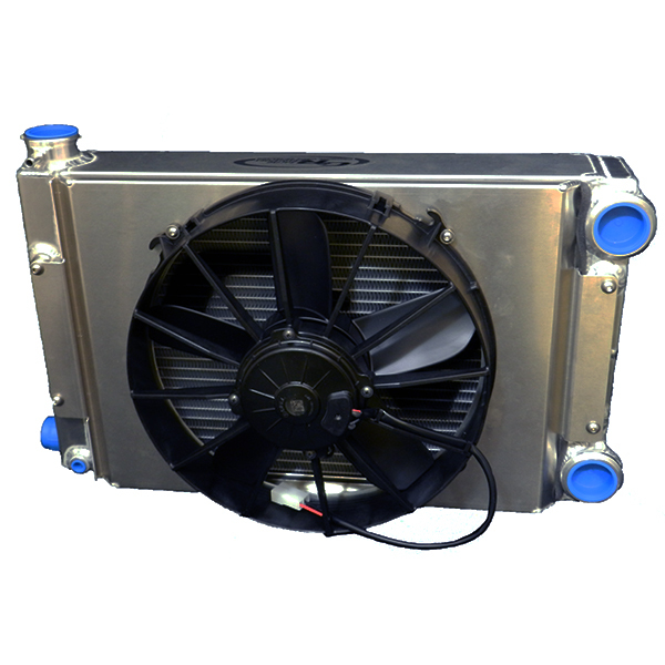 C & R Racing Radiators 939-00000 Radiator and Fan, Scirocco, 20 AN Female Passenger Side Inlet / Outlet, 12 in Fan and Shroud, Open, Aluminum, Natural, Universal, Kit