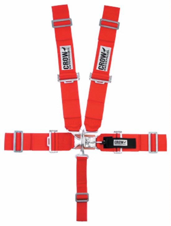 Crow Enterprizes 11012 Harness, 5 Point, Latch and Link, SFI 16.1, 50 in Length, Pull Down Adjust, Wrap Around, Individual Harness, Red, Kit
