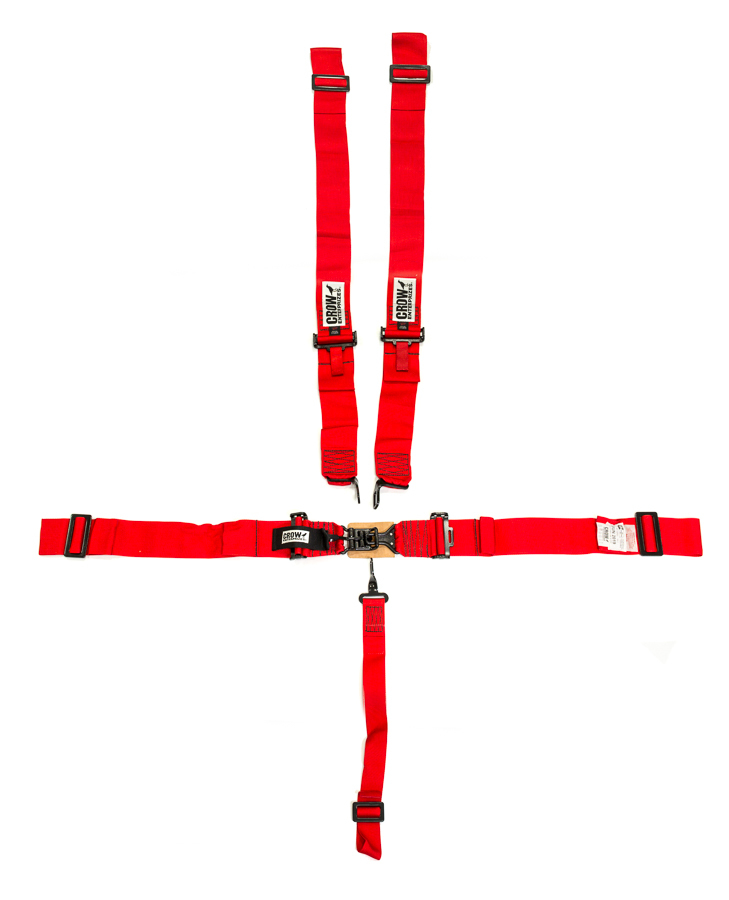 Crow Enterprizes 11012B Harness, 5 Point, Latch and Link, SFI 16.1, 50 in Length, Pull Down Adjust, Wrap Around, Individual Harness, Black Hardware, Red, Kit