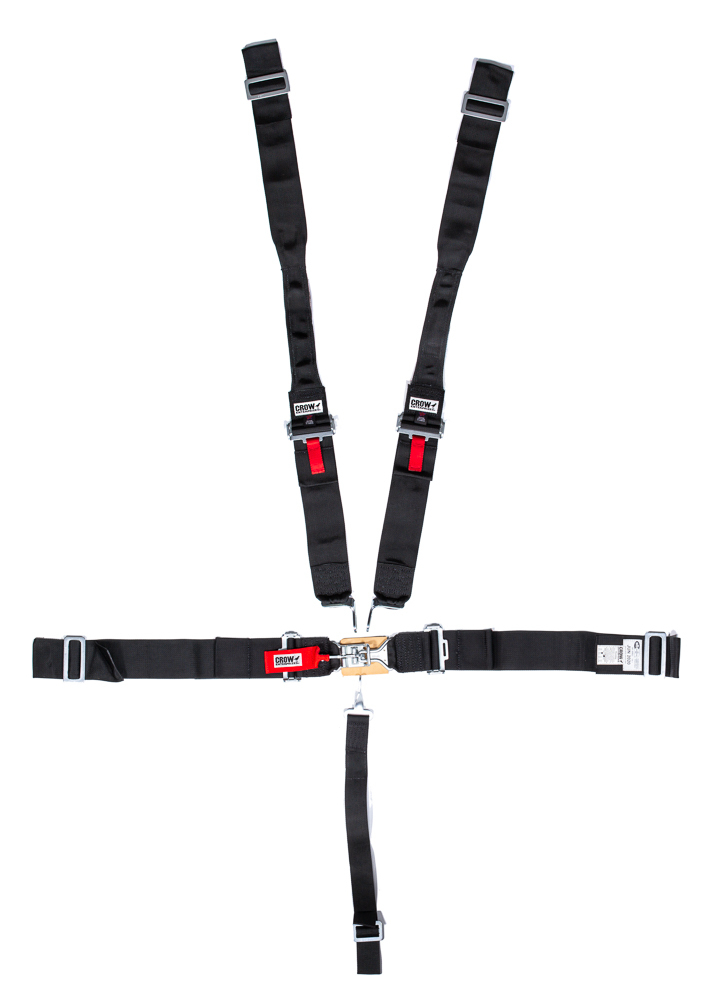 Crow Enterprizes 11014-DB Harness, 5 Point, Latch and Link, SFI 16.1, 50 in Length, Pull Down Adjust, Wrap Around, Individual Harness, HANS Ready, Black, Kit