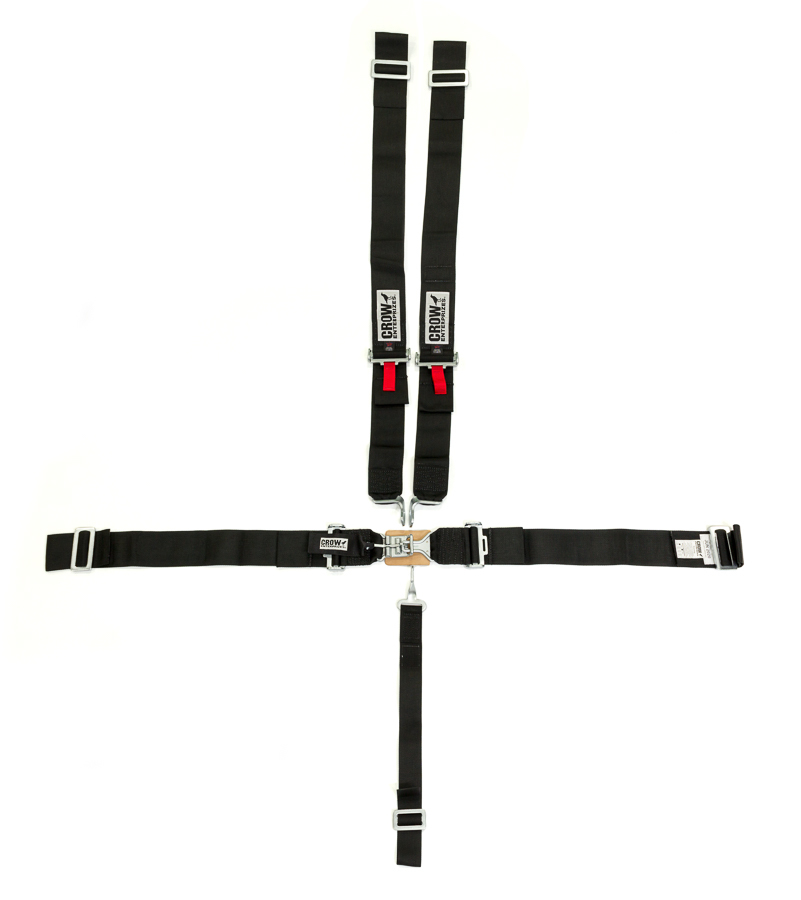 Crow Enterprizes 11014 Harness, 5 Point, Latch and Link, SFI 16.1, 50 in Length, Pull Down Adjust, Wrap Around, Individual Harness, Black, Kit