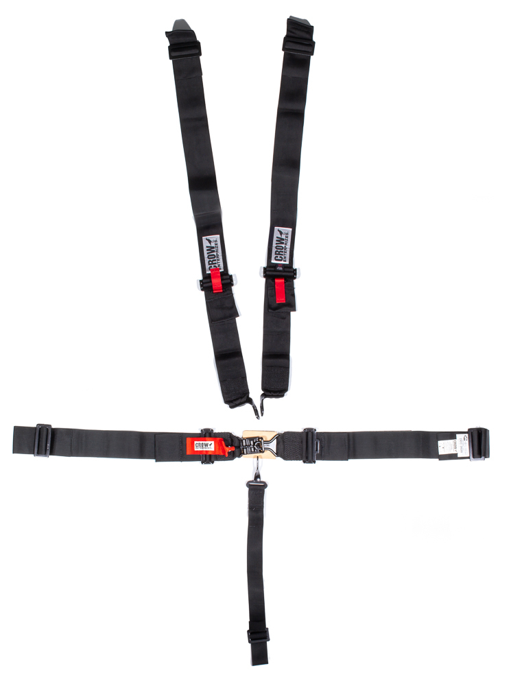 Crow Enterprizes 11014B Harness, 5 Point, Latch and Link, SFI 16.1, 50 in Length, Pull Down Adjust, Wrap Around, Individual Harness, Black Hardware, Black, Kit