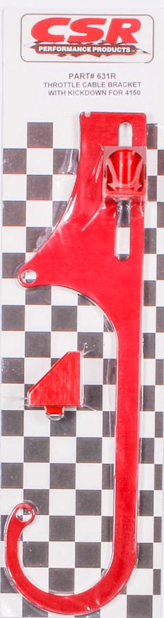 4150 Adj. Throttle Cable Bracket w/Kickdown- Red