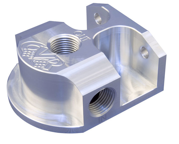 CVR Performance OFM61 Remote Oil Filter Mount, 13/16-16 in Thread, 1/2 in NPT Inlet, 1/2 in NPT Outlet, Bolt-On, Aluminum, Clear Anodized, HP4 Filters, Each