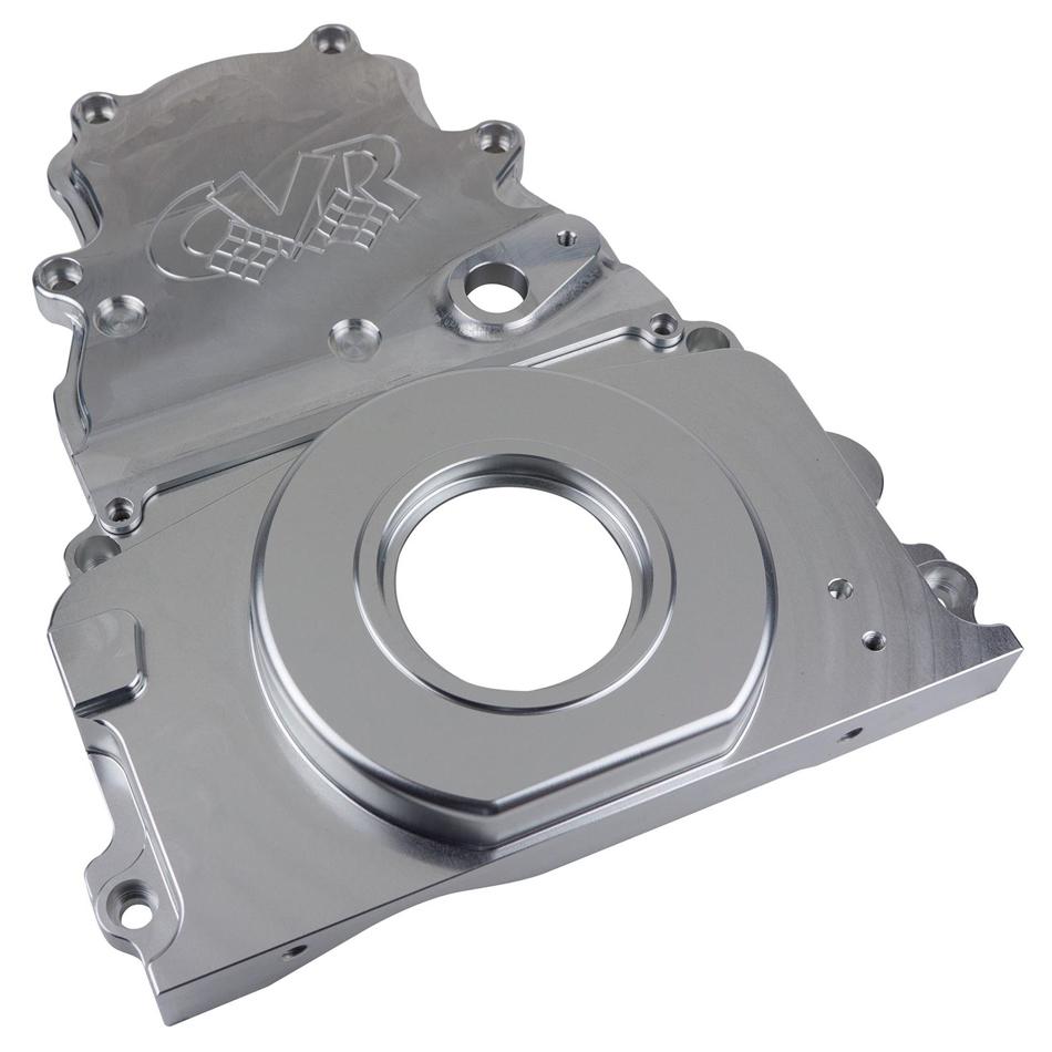 CVR Performance TC2327SCL Timing Cover, 2 Piece, Cam Sensor, Aluminum, Clear Anodized, GM LS-Series, Kit