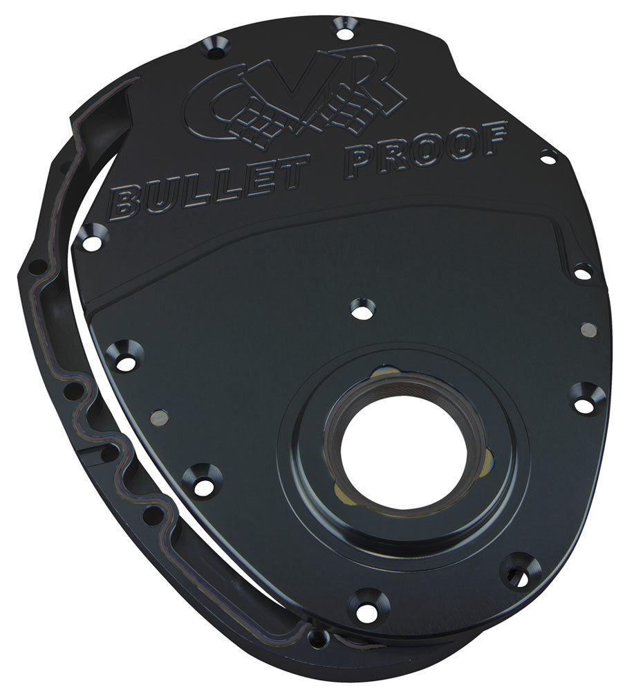 CVR Performance TC2350BK Timing Cover, 2 Piece, Gaskets / Hardware / Seal Included, Aluminum, Black Anodized, Small Block Chevy / GM V6, Kit