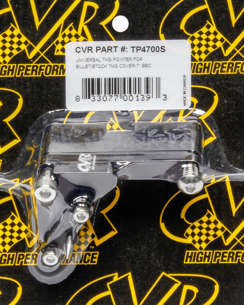 CVR Performance TP4700S Timing Pointer, Adjustable, Stainless Hardware, Aluminum, Black Anodized, 7 in OD Balancer, Big Block Chevy, Each