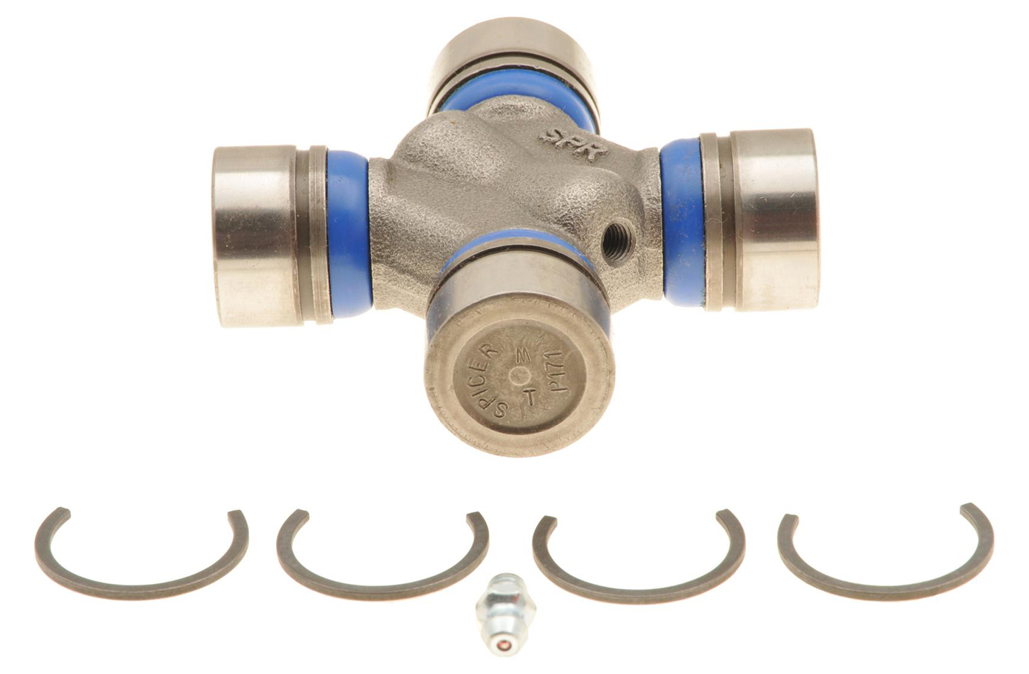 Dana-Spicer 5-3147X Universal Joint, S44 Series, 1.125 in Bearing Caps, Clips Included, Greasable, Steel, Natural, Each