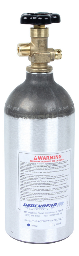 Dedenbear AB25V CO2 Bottle, 2.5 lb, Standard Valve, Aluminum, Clear Anodize, Each