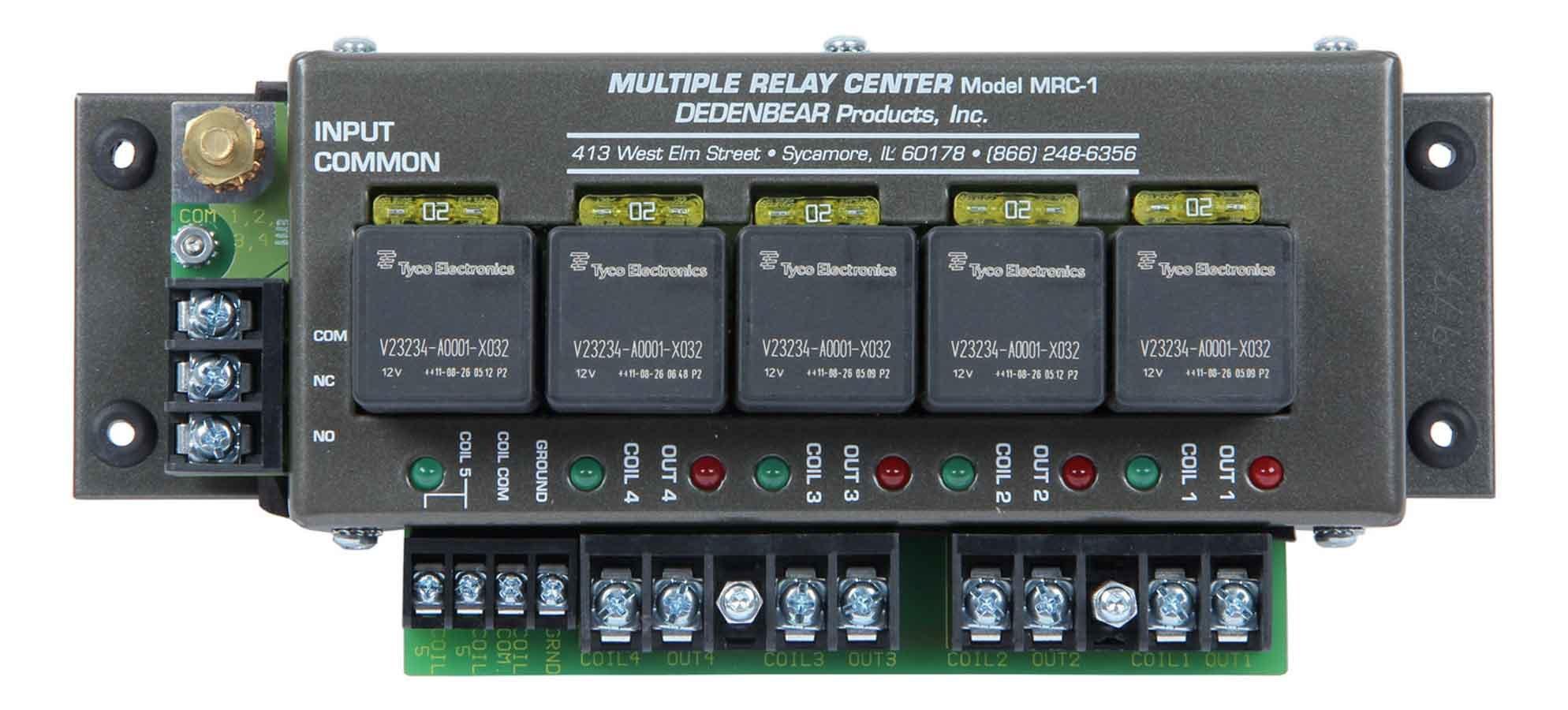 Dedenbear MRC1 Relay Center, 12V, 20 amp, Spade Terminals, Holds 5 Relays, Each