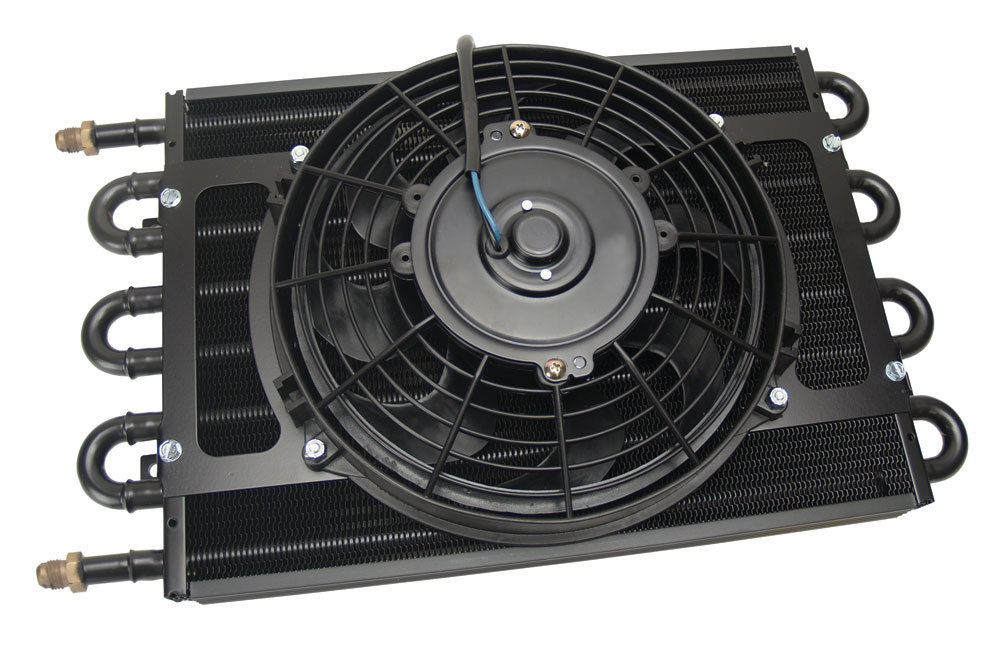 Derale 12733 Fluid Cooler and Fan, 17-3/4 x 10-1/4 x 3-3/4 in, Tube Type, 6 AN Male Inlet / Outlet, Aluminum / Copper, Black Powder Coat, Universal, Each