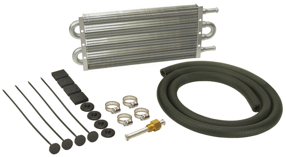 Derale 12901 Fluid Cooler, Dyno-Cool, 13 x 5 x 3/4 in, Tube Type, 11/32 in Hose Barb Inlet / Outlet, Aluminum, Natural, Automatic Transmission, Kit