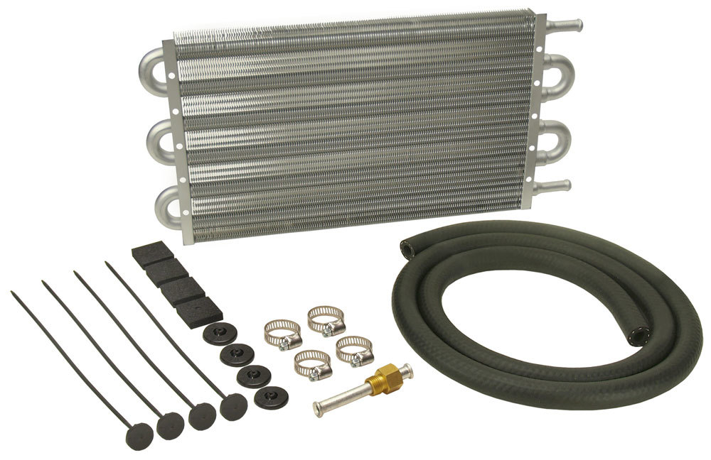 Derale 12903 Fluid Cooler, Dyno-Cool, 15-1/4 x 7-1/2 x 3/4 in, Tube Type, 11/32 in Hose Barb Inlet / Outlet, Aluminum, Natural, Automatic Transmission, Kit
