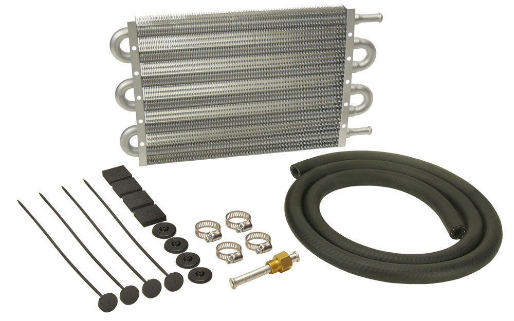 Derale 12906 Fluid Cooler, Dyno-Cool, 13 x 7-1/2 x 3/4 in, Tube Type, 11/32 in Hose Barb Inlet / Outlet, Aluminum, Natural, Automatic Transmission, Kit
