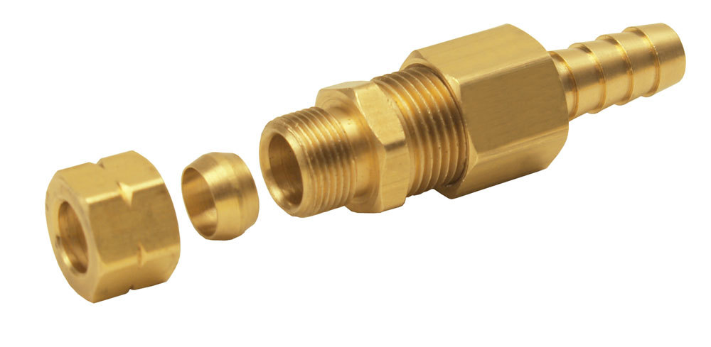 Derale 13032 Fitting, Adapter, Straight, 3/8 in Compression Fitting to 3/8 in Hose Barb, Brass, Natural, Each