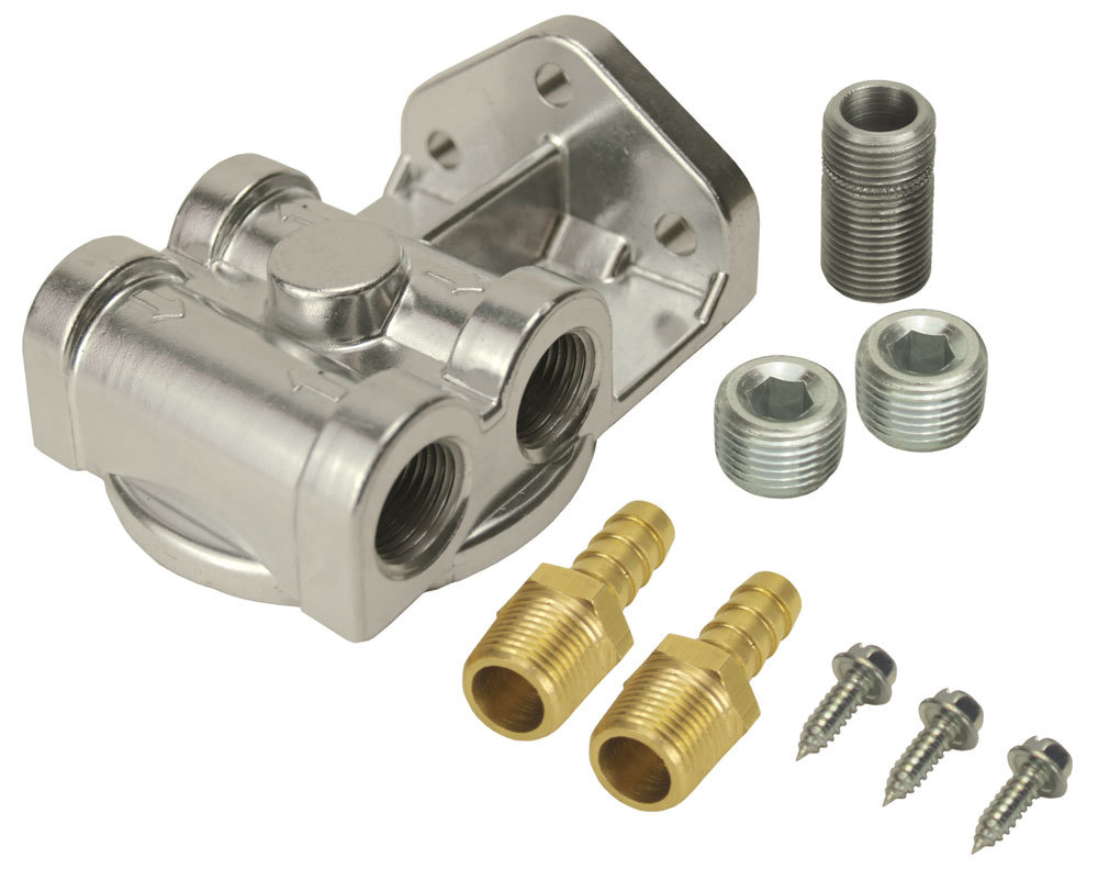 Derale 13049 Oil Filter Mount, Side Ports, 3/8 in NPT Female Ports, 3/4-16 in Center Thread, Aluminum, Natural, Universal, Kit