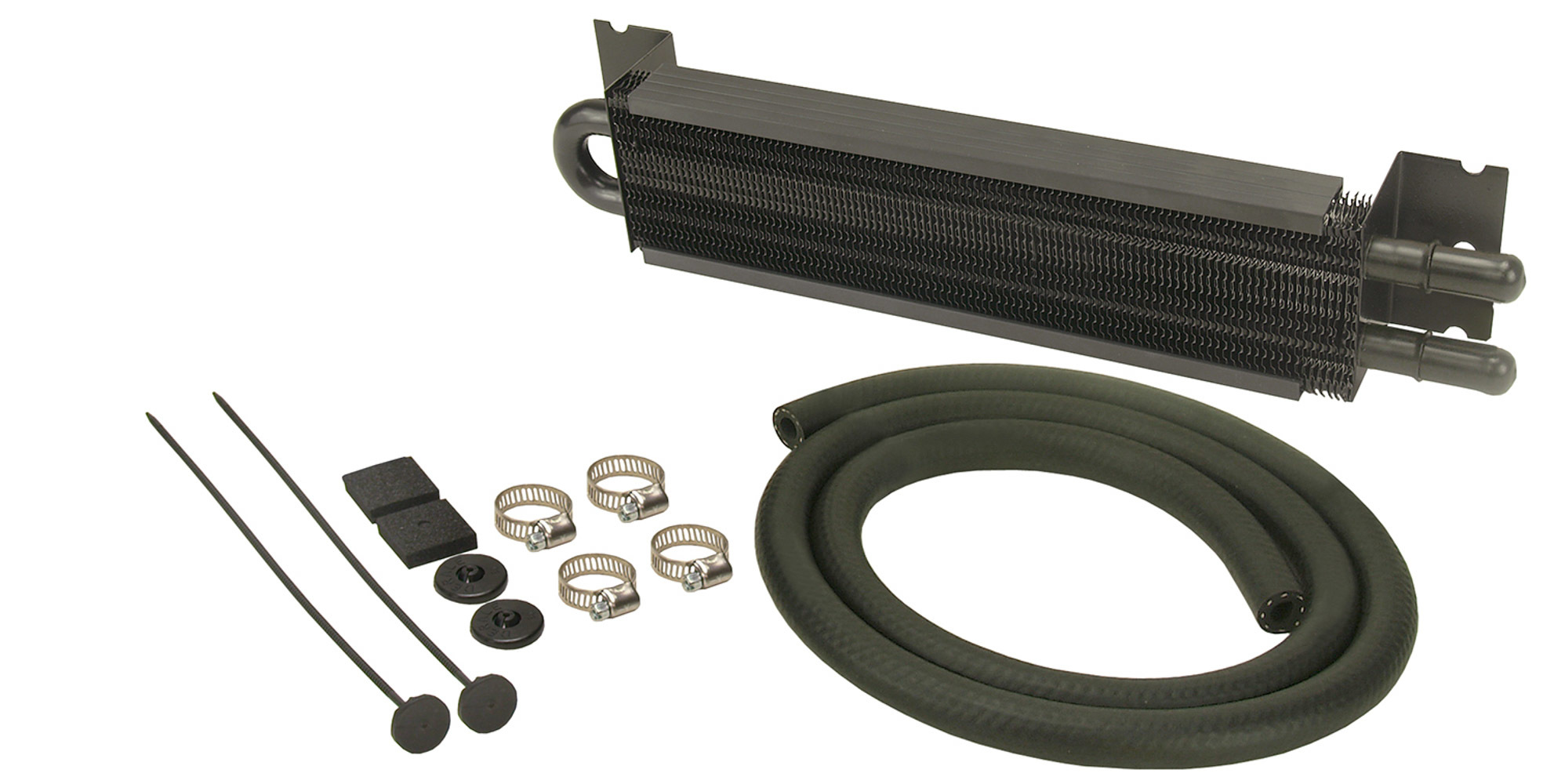 Derale 13211 Fluid Cooler, 7000 Series, 2 Pass, 12-7/8 in L x 2-5/8 in W x 1-3/4 in D, 11/32 in Hose Barb Inlet / Outlet, Hardware / Hose, Aluminum, Black Anodized, Kit