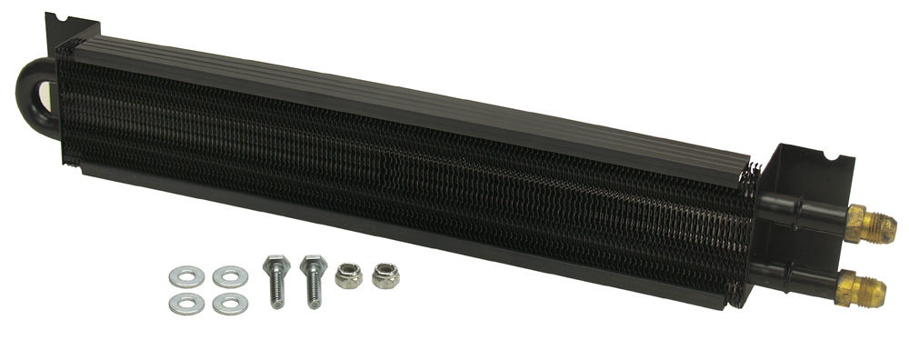 Derale 13221 Fluid Cooler, 17-1/2 x 2-5/8 x 1-3/4 in, Tube Type, 6 AN Male Inlet / Outlet, Hardware, Aluminum / Copper, Black Powder Coat, Universal, Kit