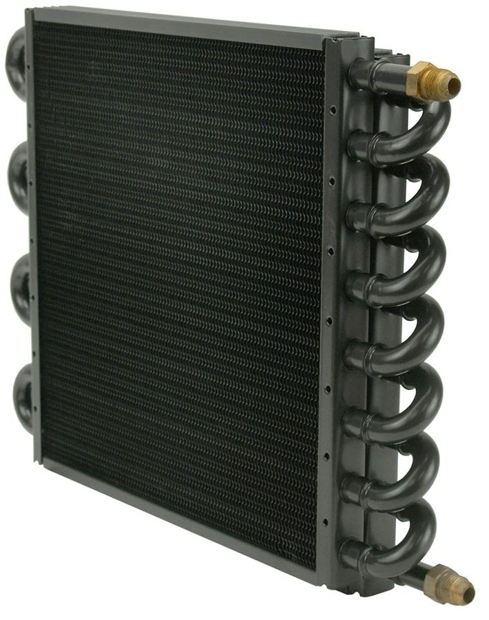 Derale 13300 Fluid Cooler, 13-1/2 x 10-3/8 x 1-3/4 in, Tube Type, 6 AN Male Inlet / Outlet, 16 Pass, Copper / Aluminum, Natural, Universal, Each