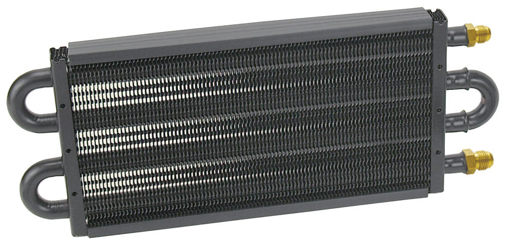 Derale 13311 Fluid Cooler, 7000 Series, 13-1/2 x 5-1/8 x 3/4 in, Tube Type, 6 AN Male Inlet, 6 AN Male Outlet, Aluminum / Copper, Black Powder Coat, Automatic Transmission, Each