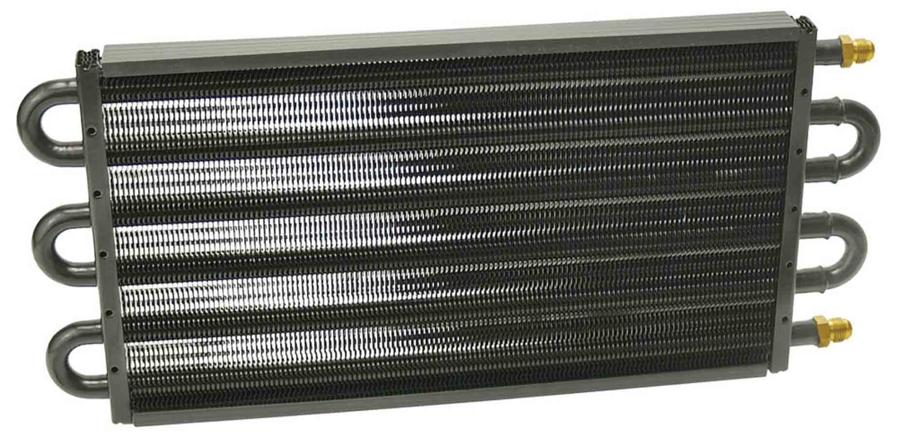 Derale 13313 Fluid Cooler, 7000 Series, 17-1/2 x 7-5/8 x 3-5/8 in, Tube Type, 6 AN Male Inlet / Outlet, Aluminum / Copper, Black Powder Coat, Universal, Each