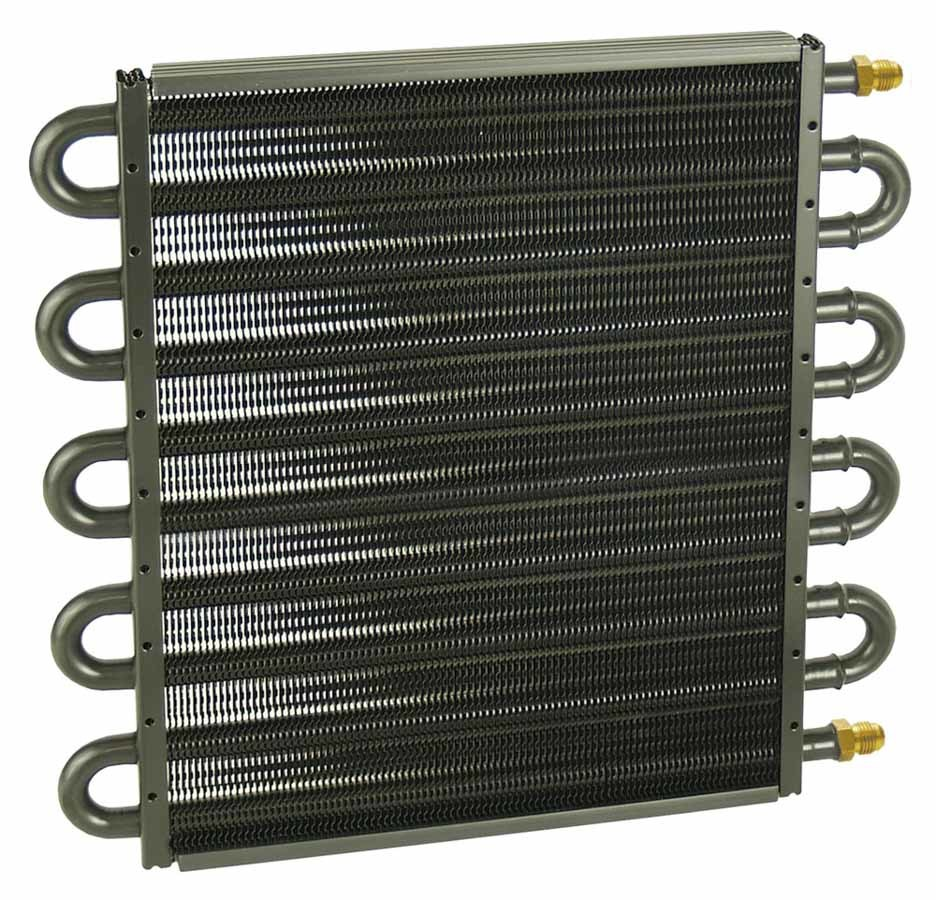 Derale 13318 Fluid Cooler, 7000 Series, 13-1/2 x 12-5/8 x 3/4 in, Tube Type, 6 AN Male Inlet / Outlet, Aluminum / Copper, Black Powder Coat, Automatic Transmission, Each