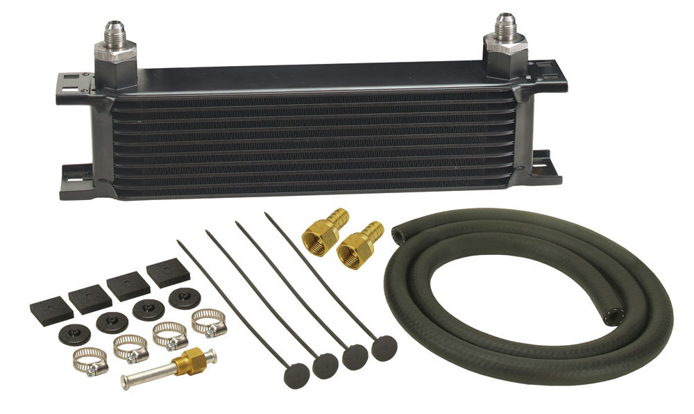 Derale 13401 Fluid Cooler, 13 x 4 x 2 in, Plate Type, 10 AN Felmale O-Ring Inlet / Outlet, 6 AN Male Adapters, Fittings / Hardware / Hose, Aluminum / Copper, Black Powder Coat, Automatic Transmission, Kit