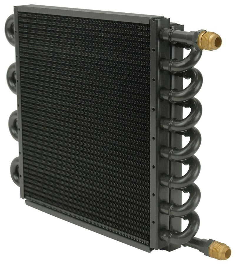 Derale 15300 Fluid Cooler, 13-1/2 x 9-1/8 x 1-3/4 in, Tube Type, 8 AN Hose Barb Inlet / Outlet, Aluminum / Copper, Black Powder Coat, Automatic Transmission, Kit