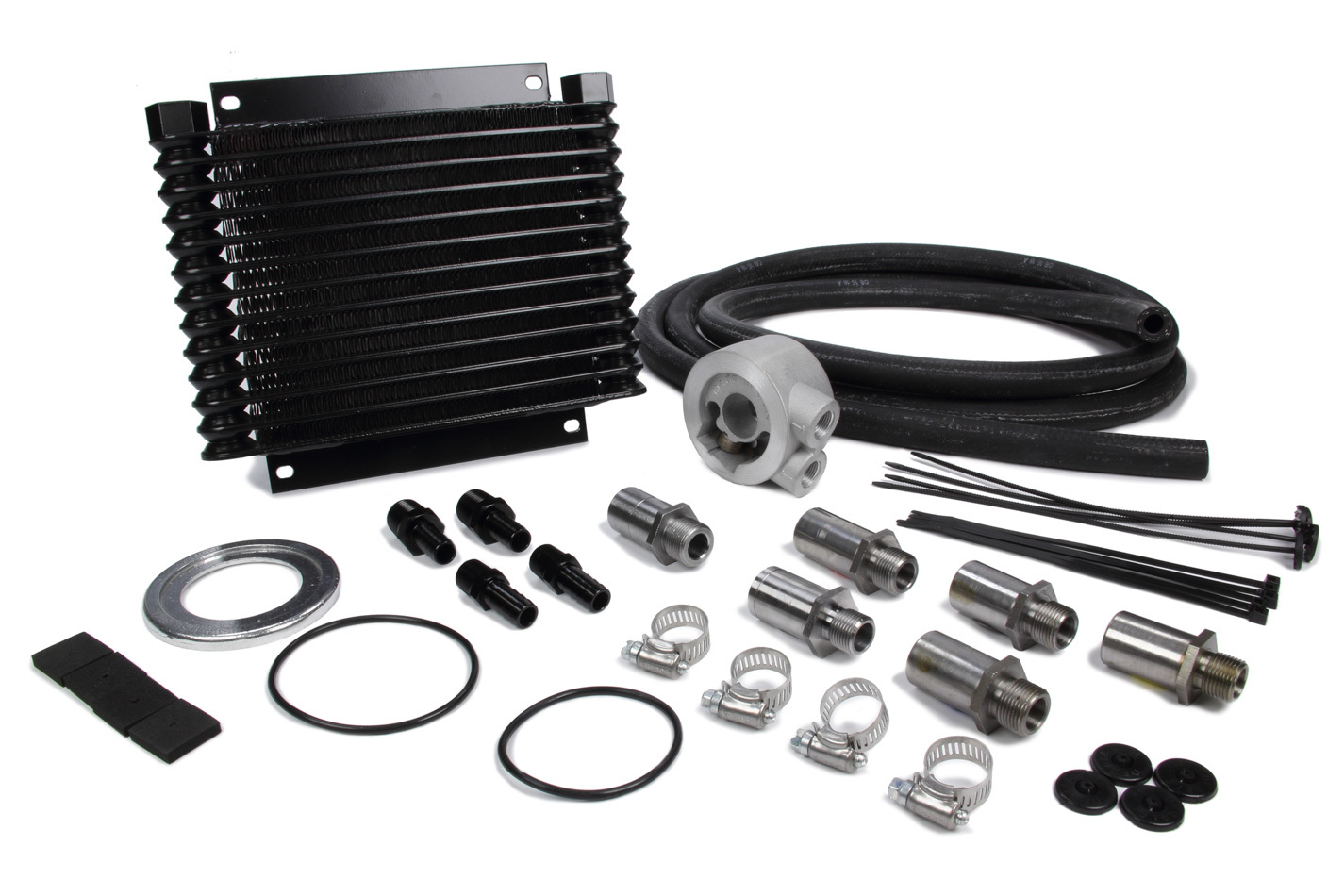 Derale 15405 Fluid Cooler, 10-1/8 x 8-7/8 x 1-1/4 in, Plate Type, 1/2 in NPT Female Inlet / Outlet, Fittings / Hardware / Hose, Aluminum, Black Powder Coat, Engine Oil, Kit