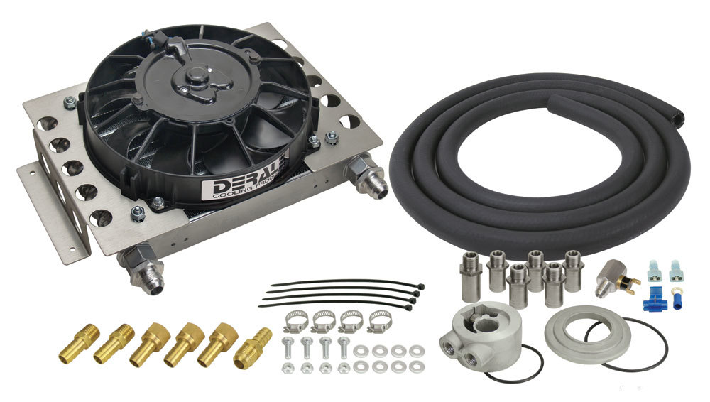 Derale 15450 Fluid Cooler and Fan, 12-3/4 x 9-3/8 x 4-5/16 in, Plate and Fin Type, 5/8-18 in Female O-Ring Inlet / Outlet, Fittings / Hardware / Hose, Aluminum, Black Powder Coat, Engine Oil, Kit