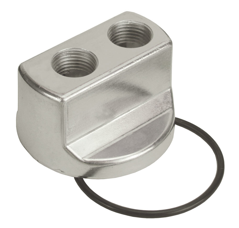 Derale 15703 Oil Filter Adapter, Bypass, Block Mount, 3/4-16 in Center Thread, 1/2 in NPT Inlet, 1/2 in NPT Outlet, Aluminum, Polished, Each