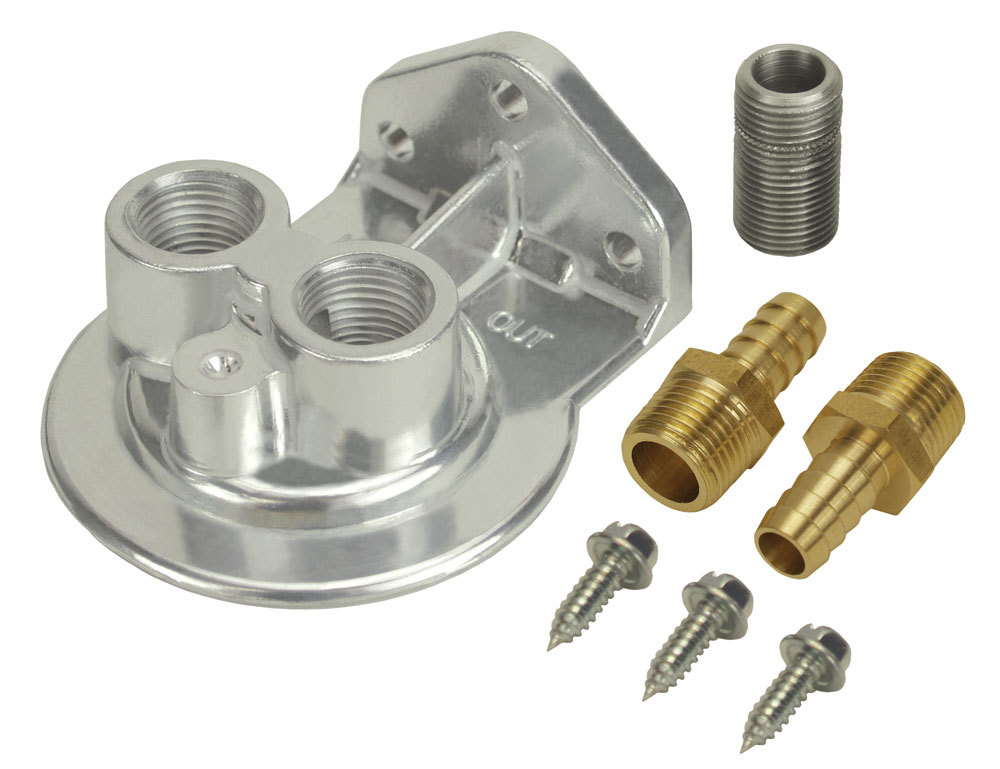 Derale 15708 Oil Filter Mount, Ports Up, 1/2 in NPT Female Ports, 3/4-16 in Center Thread, Aluminum, Polished, Universal, Kit