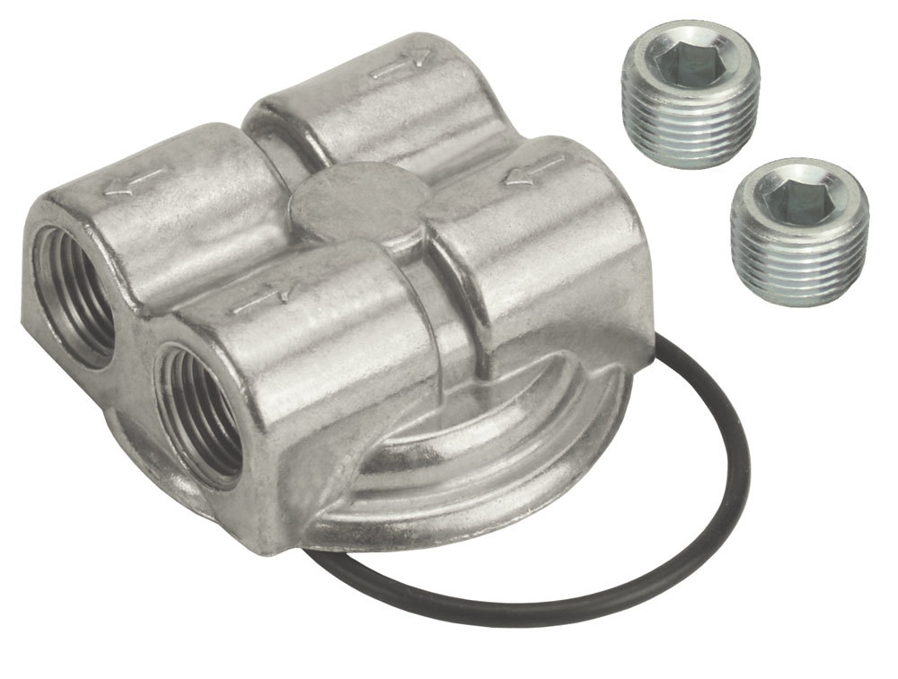 Derale 15746 Oil Filter Adapter, Bypass, Block Mount, 3/4-16 in Center Thread, 1/2 in NPT Dual Inlets, 1/2 in NPT Dual Outlets, Aluminum, Polished, Each