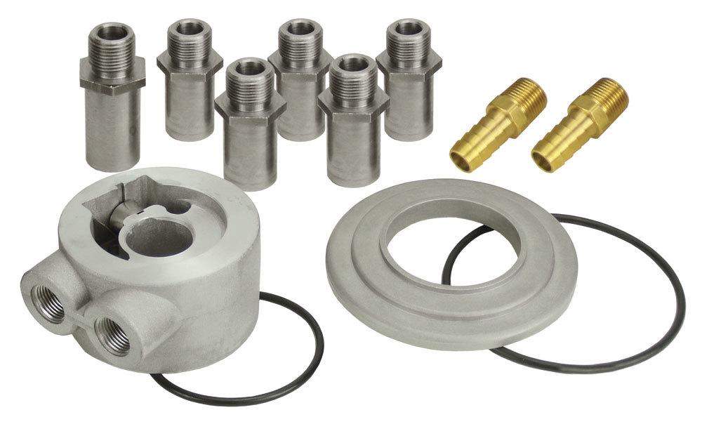 Derale 15782 Oil Cooler Adapter, Thermostatic, Sandwich, Various Center Thread Adapters, 3/8 in NPT Female Inlet, 3/8 in NPT Female Outlet, Aluminum, Engine Oil Cooler, Kit