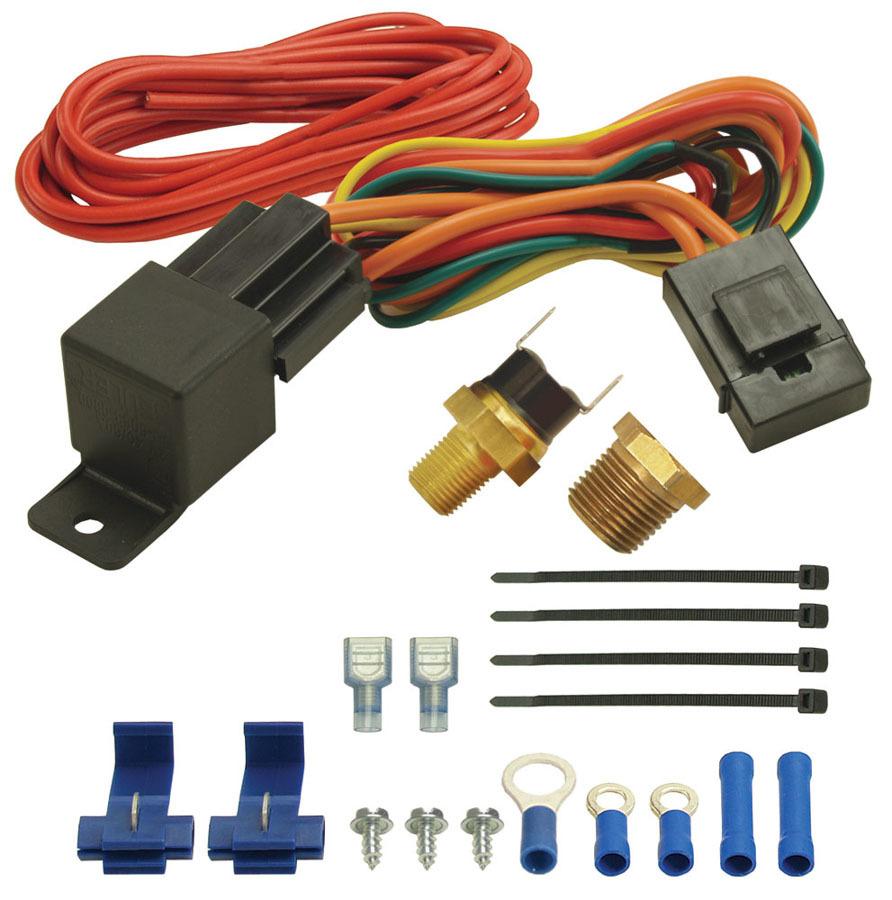 Derale 16720 Fan Controller, 180 Degree F On, 165 Degree F Off, 1/8 in NPT Temperature Sensor, 3/8 in NPT Bushing, Harness, 25 amp Relay, Kit
