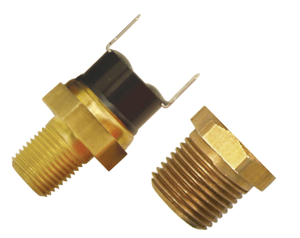 Derale 16731 Temperature Switch, 190 Degree On, 175 Degree Off, 1/8 in NPT, 3/8 in NPT Bushing, Kit