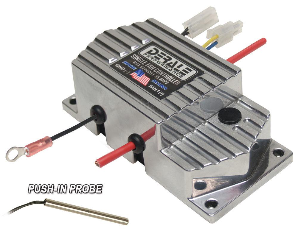 Derale 16778 Fan Controller, High Amperage, Adjustable, 150-240 Degree F Activation Range, Push-In Temperature Sensor, 35 amp, Kit