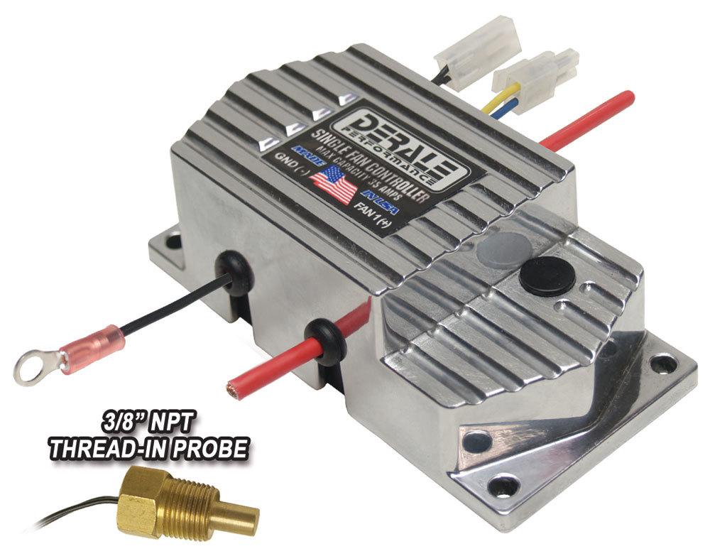Derale 16779 Fan Controller, High Amperage, Adjustable, 150-240 Degree F Activation Range, 3/8 in NPT Temperature Sensor, 35 amp, Kit