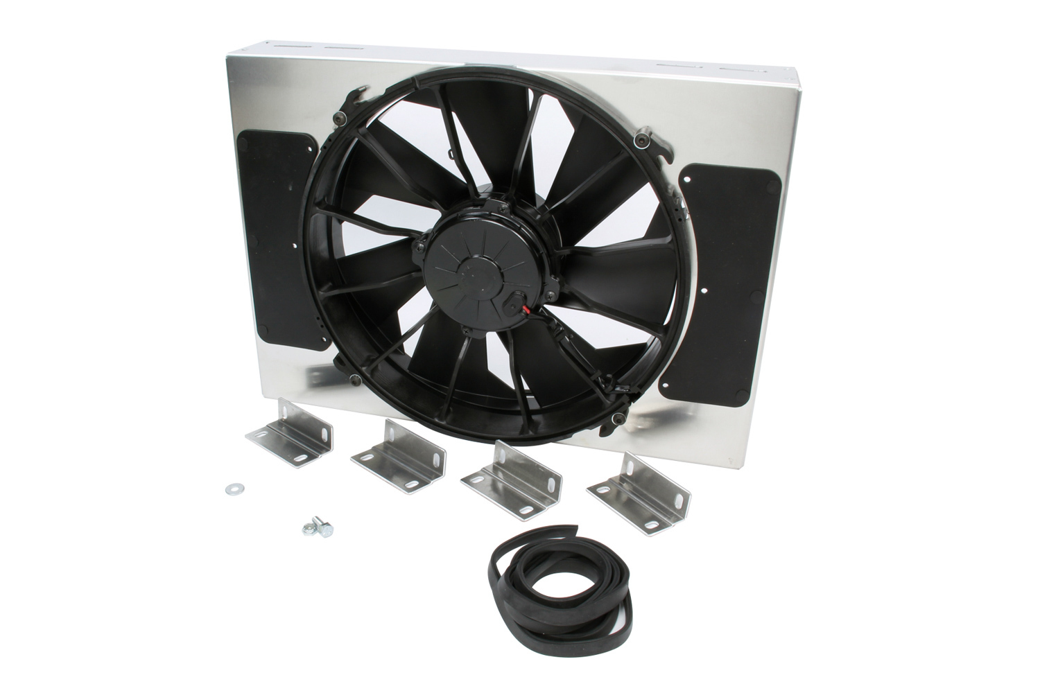 Derale 16814 Electric Cooling Fan, HO RAD, 12 in Fan, Puller, 2000 CFM, Curved Blade, 18 x 13 in, 4 in Thick, Aluminum Shroud, Plastic, Kit