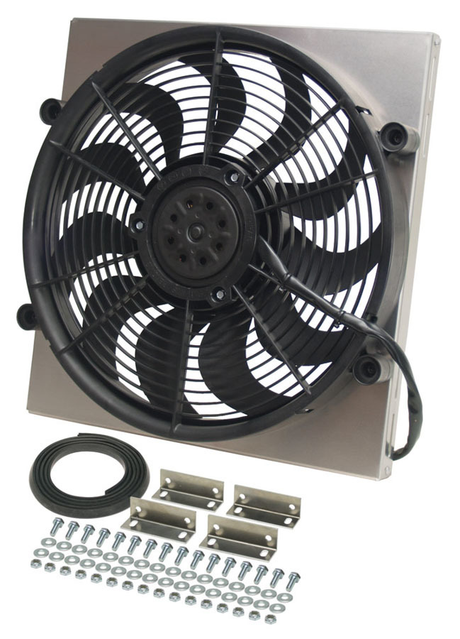 Derale 16816 Electric Cooling Fan, HO RAD, 17 in Fan, Puller, 2400 CFM, 12V, Curved Blade, 17-5/8 x 16-3/4 in, 3 in Thick, Aluminum Shroud, Plastic, Kit