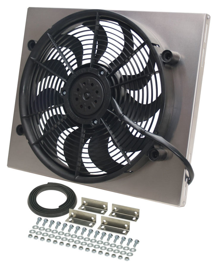 Derale 16821 Electric Cooling Fan, HO RAD, 17 in Fan, Puller, 2400 CFM, Curved Blade, 17-5/8 x 20-3/4 in, 3 in Thick, Aluminum Shroud, Plastic, Kit